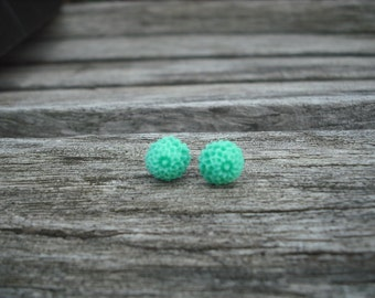 mint green mum post earring
