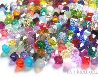 200 pcs Swarovski Bicone Crystal Beads Color Mix 5328/5301 6mm Wholesale Destash