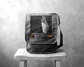 Messenger Bag - Woodland Bunny - Field Bag - School Bag - Gray - Canvas Bag - Mademoiselle Lapina
