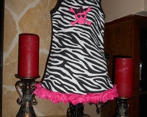 Toddler Zebra Dress With Pink Rose and Embroidery Skull Embellishment/Zebra Print Dress/Pink Skull Dress/Boutique Style Zebra Dress/