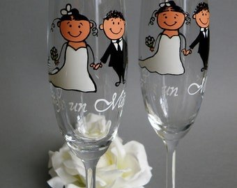 Hand painted Wedding Toasting Flutes Set of 2 Personalized Champagne glasses Wedding Ceremony Bride and Groom Together