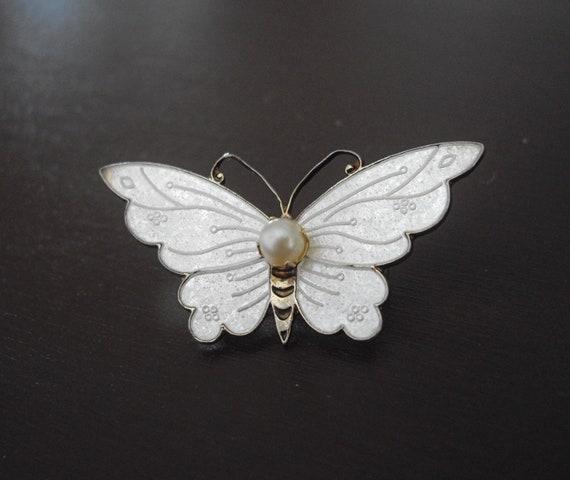 Vintage  Butterfly Brooch-White Brooch-Enameled Brooch