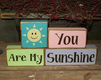 You Are My Sunshine Primitive Wood Sign Blocks Nursery Decor Kids Room Stacking Shelf Blocks