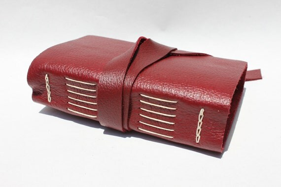 Reserved for V - Leather Journal or Sketchbook - Ruby Red - Handmade