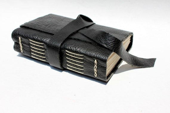 Free Shipping - Leather Journal or Sketchbook - Black - Handmade