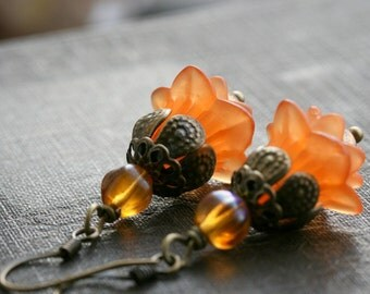 Orange Earrings, Flower Earrings, Choice of Earwires, Lucite Earrings, Orange Jewelry,  Flower Jewelry, Lucite Earrings Orange - Harmony