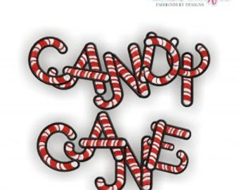 Candy Cane Monogram Font- Instant Download -Digital Machine Embroidery Design