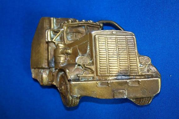 Vintage 1970s Belt Buckle 18 Wheel Semi Truck Brass Buckle