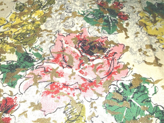 Vintage Gold Painted Floral Barkcloth . . . over 1 yard X 41 inches
