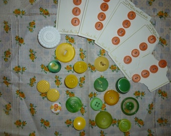 Yellow, Orange, Green Buttons ~  Floral Hankie ~ Vintage Supplies ~ Vintage Destash ~ Sewing Supplies ~ Spring Collection ~ Floral Hankie