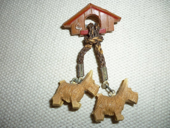 Cute Antique Brooch Pin Westies Dog House