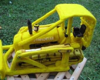 OOAK Yellow John Deere Bulldozer Needle Felted Soft Sculpture