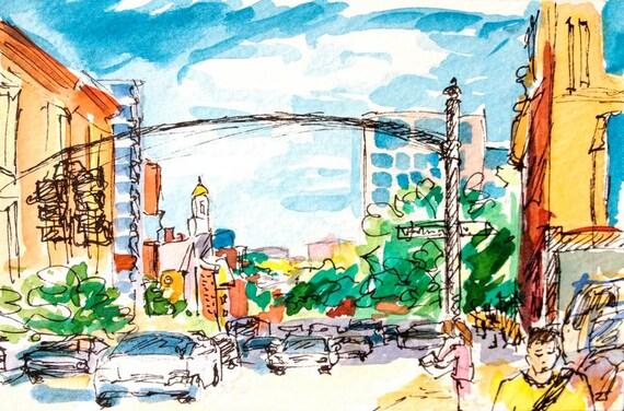 North Main St Providence RI watercolor
