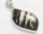 925 sterling silver slide pendant w/ agate cabochon stone brown and tans