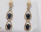 Estate 14K YELLOW GOLD black onyx gemstone dangle earrings post stud w/ butterfly backings