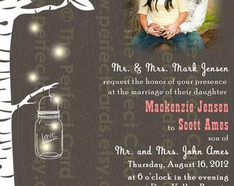 Firefly Mason Jar Wedding Photo Invitation