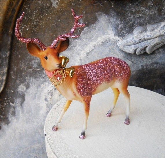 "Vintage Christmas ""Re-Purposed"" Reindeer Pink Antlers 7.5"""