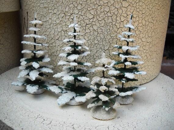 Vintage Christmas Flocked Miniature Trees Set of 4