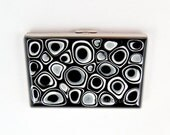 Accordion Metal Wallet Organizer Hand Painted Enamel Black and White Mod Inspired Credit Card Holder Custom Colors and Personalized Options