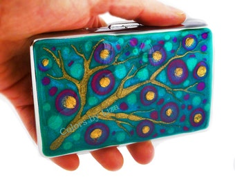 RFID Metal Accordion Wallet with Organizer Hand Painted Enamel Fuchsia and Turquoise Blossom Inspired with Personalized Options