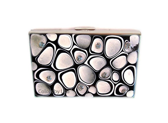 Accordion Metal Wallet Hand Painted Enamel Black and White Mod Inspired with Swarovski Crystals RFID Wallet with Personalized Options