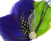 Peacock Hair Fascinator SWEET TART Blue and Lime for Bride or Bridesmaids with Rhinestone