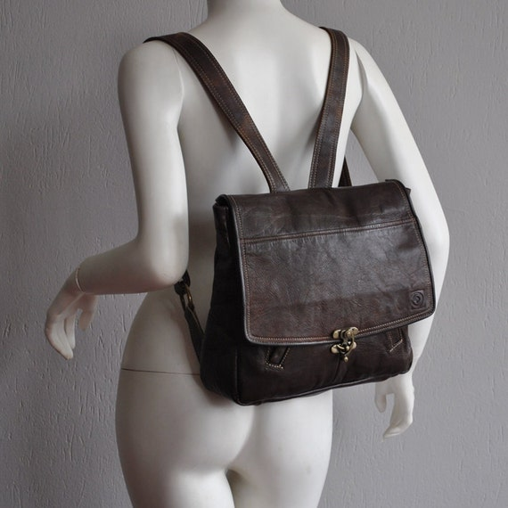 Lovely dark brown backpack with laptop division, UPCYCLED LEATHER