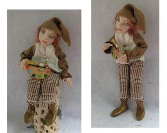 Remington Woodland Artish Elf, OOAK Fairy Doll Fairies Sculpture Artdoll Gift Home Decor