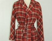 1960s Vintage Red Plaid Jacket - 60s does 40s