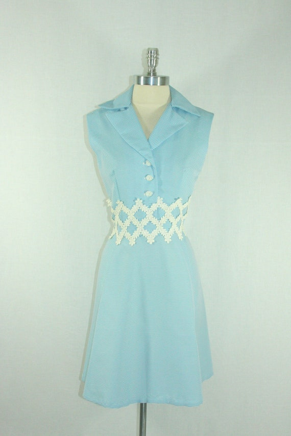 1960's Vintage Dress -  Blue and White Striped Summer Sleeveless Darling Play Frock