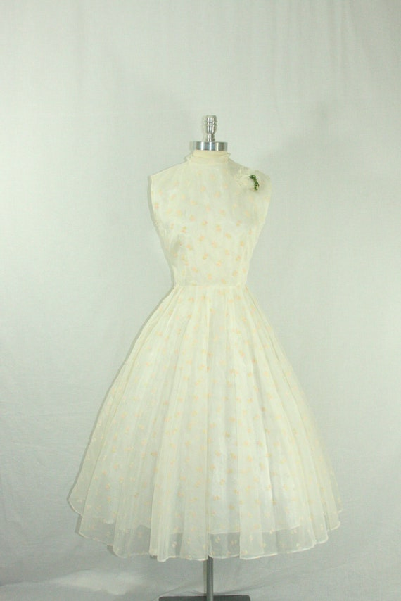 1950s Vintage Wedding Dress - White Chiffon Flocked with Pink and White Hearts Wedding Frock