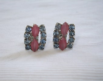 Vintage Earrings Screw Back Pink Faux Stones Blue Rhinestones Silvertone Costume Jewelry