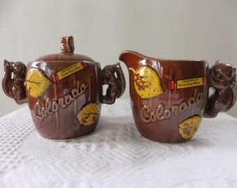 Vintage Cream and Sugar Set Souvenir Thrifco Golden Aspen Colorado Gold King Mine Squirrel Leaf