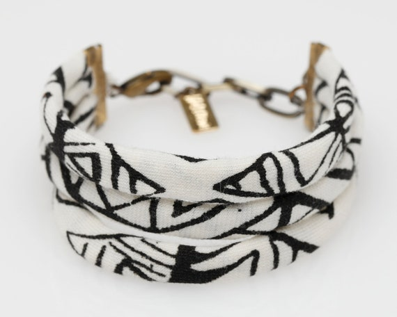 String Cuff Bracelet in 'White Heat Geo'