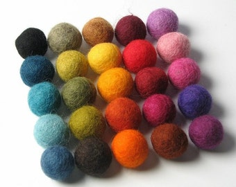 50 Hand-felted Wool Felt Balls 2CM Multi Color Mix Handbehg Felts Fiber Crafts