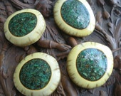 Vintage Antler and Crushed Turquoise Inlay  Buttons