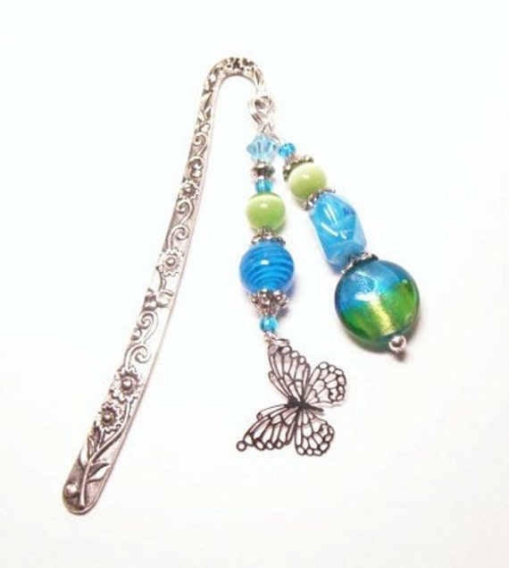 Bookmark - Delicate Butterfly Charm with Blue and Green Glass Beads