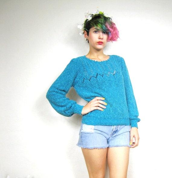 70s Teal Pointelle Crochet Sweater  (S)