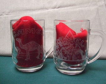 Camel Cigaretts Collectible Glass Etched Mugs Joe Camel