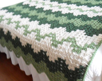 Crochet Afghan (Queen ) - Blanket - Throw - Bedspread   ''CONTEMPORARY GRANNY RIPPLE''   in Greens