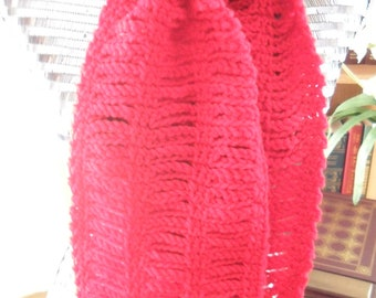 Crocheted Scarf - Wrap - Cowl - Shawl -  Women's Wear -  Accessories   ''CHAIN LINKS''   in Red