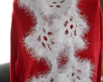 Crocheted Scarf - Wrap - Cowl - Neckwear - Womens  Wear - Accessories    ''SNOWFLAKE''   in White