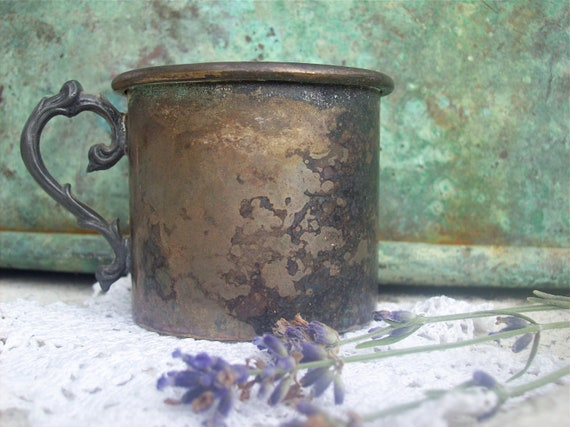 Vintage Silver Cup, Childs Mug Souvenir Historical Gettysburg Jenny Wade house Collectable