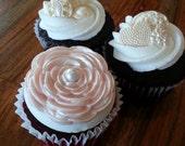 Cabbage Rose Fondant Cupcake Toppers, Cupcake Decoration, Weddings, Bridal Shower Cupcakes