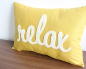 Relax Pillow in Script - Yellow