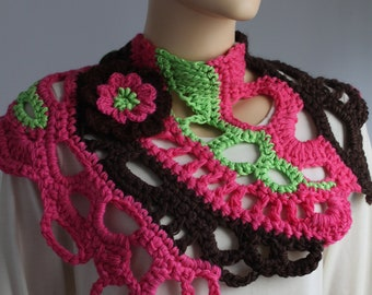 Dark Brown ,hot pink ,  green Freeform Crochet Chunky Scarf with Flower- Pin, Crochet Capelet