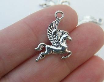 10 Pegasus charms antique silver tone A579