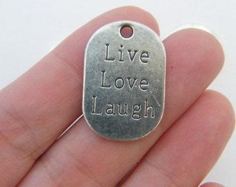 BULK 20 Live Love Laugh pendants antique silver tone M288