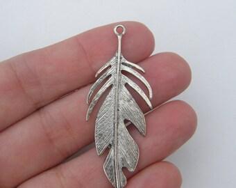 2 Feather pendants antique silver tone B239