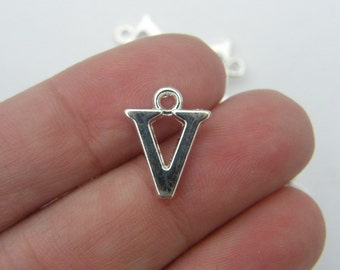8 Letter V alphabet charms silver plated